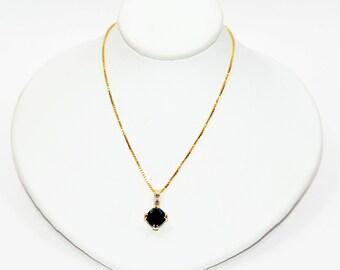 Black Australian Boulder Opal & Diamond 1.46tcw 14kt Yellow Gold Pendant Necklace