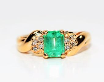 Colombian Emerald & Diamond 1.40tcw 14kt Yellow Gold Women's Ring
