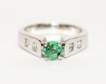Paraiba Tourmaline & Diamond 1.14tcw 14kt White Gold Engagement Women's Ring