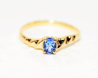 Tanzanite .35ct 10kt Yellow Gold Solitaire Statement Gemstone Women's Ring