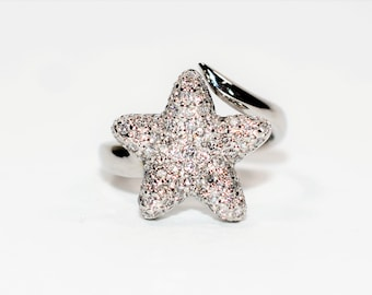 LeVian Diamond .43tcw 14kt White Gold Cluster Statement Star Pave Women's Ring