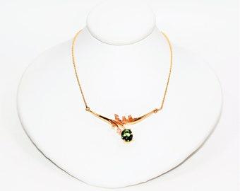 Paraiba Tourmaline & Diamond 1.48tcw 14k Yellow Gold Pendant Women's Necklace
