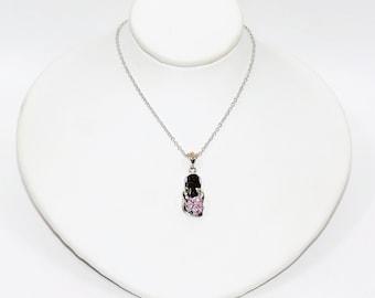 Pink Sapphire .15tcw 10kt White Gold Flip Flop Flower Sandal Pendant Necklace