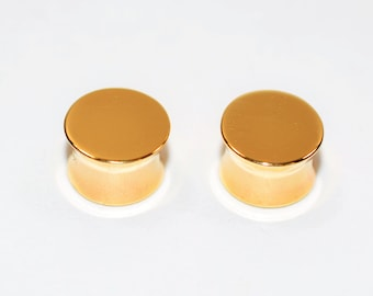00 Gauge Plug 14kt Yellow Gold 9.50mm Stretched Pierced Earrings