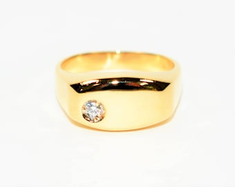 Diamond .06ct 14kt Yellow Gold Solitaire Statement Men's Ring