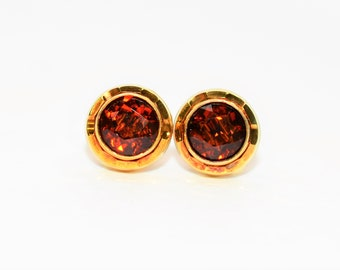 Madeira Citrine 2tcw 18kt Yellow Gold Solitaire Stud Gemstone Women's Earrings