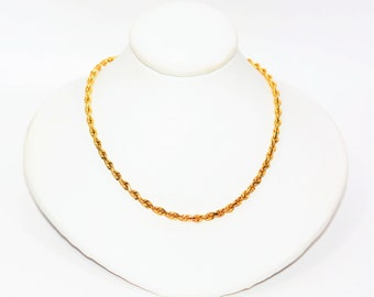 """14kt Yellow Gold 18"""" 9.4 Grams 2.25mm Diamond Cut Twist Rope Chain Necklace"""