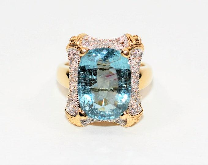 Featured listing image: GIA Certified Paraiba Tourmaline & Diamond 9.12tcw 14kt Yellow Gold Statement Women's Ring