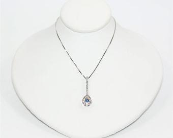 Ceylon Sapphire & Diamond .36tcw 18k White Gold Pendant Women's Necklace