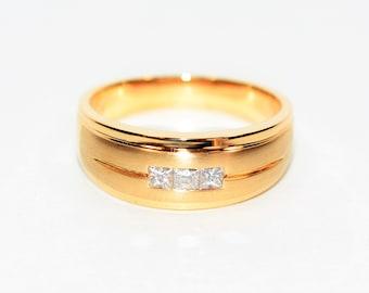 Diamond .30tcw 14kt Yellow Gold Statement Cluster Wedding Band Men's Ring