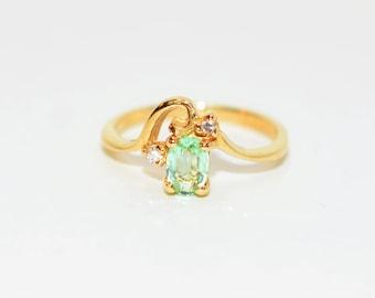 Paraiba Tourmaline & Diamond .46tcw 14kt Yellow Gold Gemstone Women's Ring