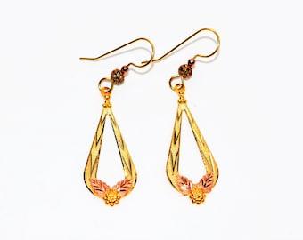Black Hills Gold 10kt Yellow Gold Leaf Tri-Tone Dangle Drop Women's Earrings