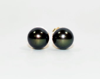 Black Tahitian Pearl 7mm 14kt Yellow Gold Solitaire Ball Stud Women's Earrings