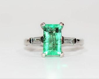 Colombian Emerald & Diamond 2.80tcw 14kt White Gold Platinum Women's Ring