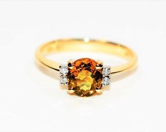 Mali Garnet & Diamond 1.45tcw 14kt Yellow Gold Grossular Women's Ring