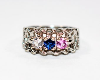 Pink Topaz, Blue Sapphire & White Sapphire .51tcw 10kt White Gold Mothers Cluster Women's Ring