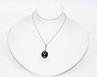 Black Tahitian Pearl 9.75mm & .01ct Diamond 18kt White Gold Pendant Women's Necklace