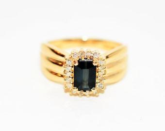 Indicolite Tourmaline & Diamond 1.03tcw 14kt Yellow Gold Gemstone Women's Ring