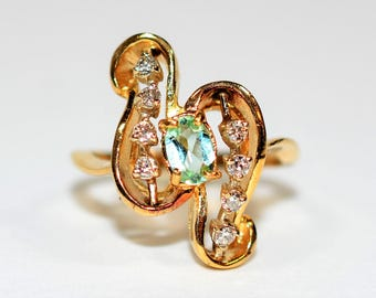 Paraiba Tourmaline & Diamond 1tcw 14kt Yellow Gold Statement Gemstone Women's Ring