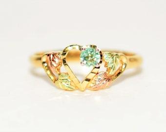 Paraiba Tourmaline .15ct 10kt Black Hills Yellow Gold Heart Gemstone Women's Ring