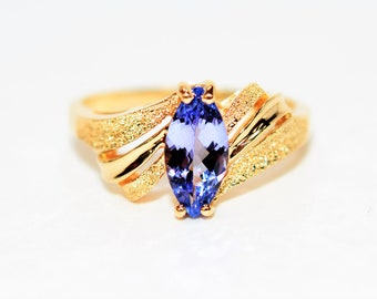 Tanzanite .90ct 14kt Yellow Gold Solitaire Marquise Gemstone Women's Ring