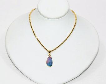 Ethiopian Opal 1.78ct 14kt Yellow Gold Solitaire Gemstone Pendant Women's Necklace