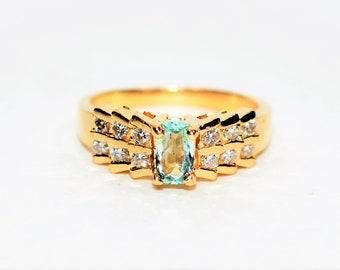 Paraiba Tourmaline & Diamond .76tcw 14kt Yellow Gold Women's Pave Cluster Ring