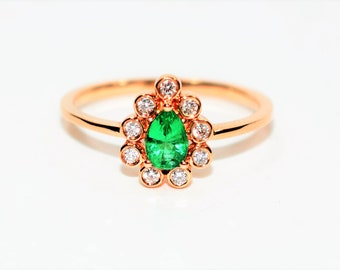 LeVian Colombian Emerald & Diamond .59tcw 14kt Rose Gold Engagement Women's Ring