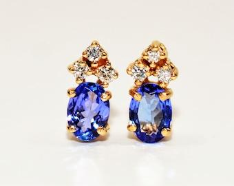 D'Block Tanzanite & Diamond 1.86tcw 14kt Yellow Gold Stud Women's Earrings