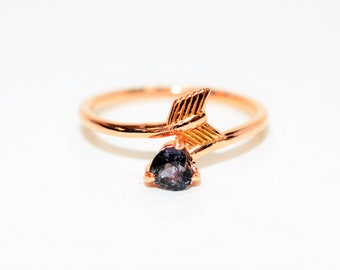 Certified Color Change Purple Sapphire .42ct 14kt Yellow Gold Heart Arrow Ring