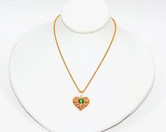 Tsavorite Garnet .30ct 14kt Yellow Gold Solitaire Heart Pendant Women's Necklace