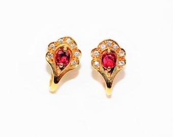Burmese Ruby & Diamond 1.01tcw 18kt Yellow Gold Statement Women's Earrings