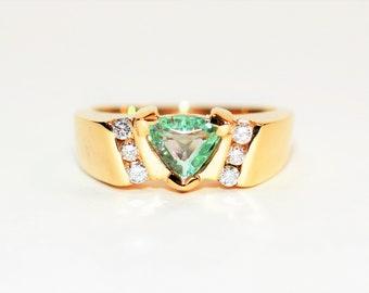 Paraiba Tourmaline & Diamond 1.24tcw 14kt Yellow Gold Men's Ring
