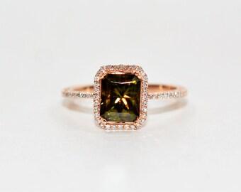 Sphene & Diamond 2.10tcw 14kt Rose Gold Pave Halo Engagement Women's Ring