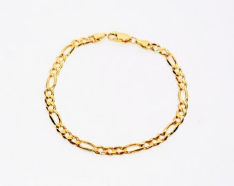 14kt Yellow Gold 5.50mm Figaro Chain Statement Fine Men's Bracelet