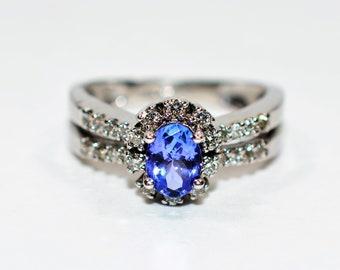 Tanzanite & Diamond 1.39tcw 14kt White Gold Pave Halo Women's Ring