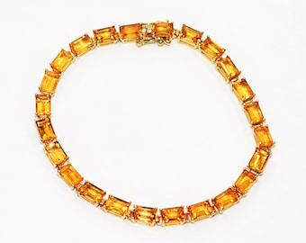 Madeira Citrine 15.50tcw 14kt Yellow Gold Gemstone Tennis Women's Bracelet