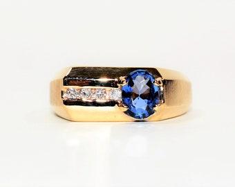 Ceylon Sapphire & Diamond 1.63tcw 14kt Yellow Gold Men's Ring