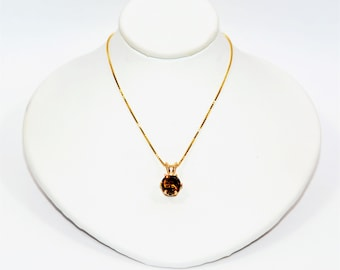 Sphene 2.20ct 14kt Yellow Gold Solitaire Statement Pendant Women's Necklace
