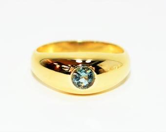 Paraiba Tourmaline .50ct 14kt Yellow Gold Solitaire Gemstone Statement Men's Ring