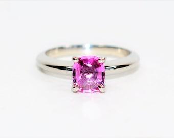 Pink Ceylon Sapphire 1.05ct Platinum Solitaire Engagement Women's Ring