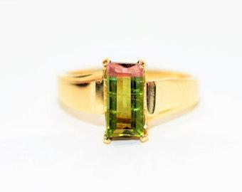 Watermelon Tourmaline 1.65ct 10kt Yellow Gold Solitaire Gemstone Women's Ring