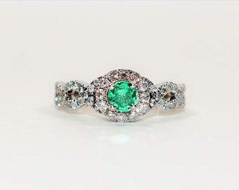 Neil Lane Colombian Emerald & Diamond 1.15tcw 14kt White Gold Engagement Women's Ring