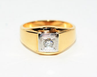 Diamond .17ct 14kt Yellow Gold Solitaire Statement Men's Ring