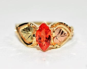 Padparadscha Sapphire 1ct 10kt Yellow Black Hills Gold Marquise Women's Ring