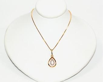 Diamond .14tcw 14kt Yellow Gold Two-Tone Pave Pendant Women's Necklace