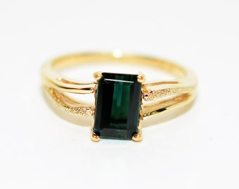 Indicolite Tourmaline 1.24ct 10kt Yellow Gold Solitaire Gemstone Women's Ring