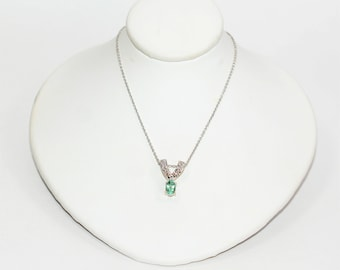 Paraiba Tourmaline & Diamond .78tcw 14kt White Gold Pave Pendant Women's Necklace