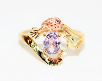 Padparadscha Sapphire 1ct 10kt Black Hills Yellow Gold Solitaire Women's Ring