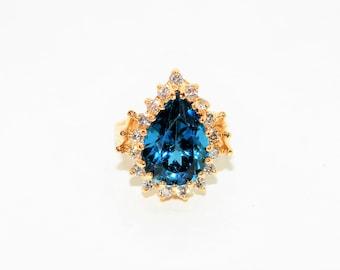 London Blue Topaz & Diamond 10tcw 14kt Yellow Gold Halo Statement Women's Ring